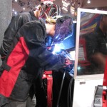 Red letting me weld at the booth