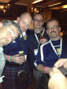 Hanging out at the NCB kickoff party with the team from The Lion Rampant bar, Canada.