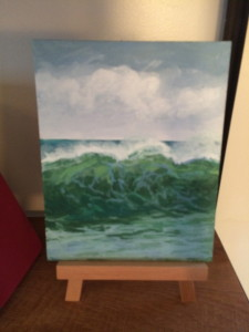 To inspire the kids to paint what they see I did this tiny acrylic on paper of one of our beautiful crashing waves.