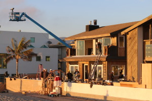 Close up of Jay's house with crane