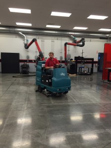 Jonathan from Lincoln electric keeping the shop super clean.