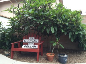 Plumeria tree with Stanyan and Beulah sign in honor of my dad.