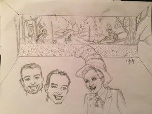 Sketch for Ellen Show library mural with portraits.