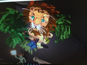 "My first sketch on Tilt Brush. ""In the Jungle the Quiet Jungle a Little Dude Holds Fire."""